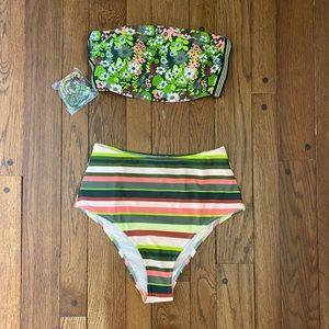 Aerie sycamore floral & stripes bandeau bikini